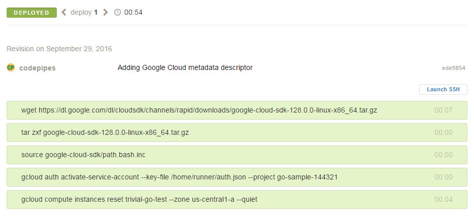 Semaphore build to Gcloud